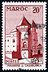 Postage stamp French Morocco 1955 Mahakma (Courthouse), Casablan