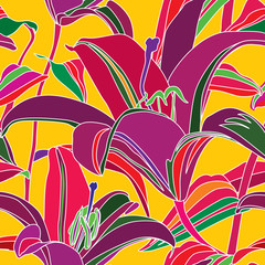Floral seamless background. Flowers lily. Hawaiian style.