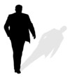 man walking silhouette art vector with shadow