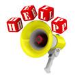 Мегафон и слово HELP из красных кубиков