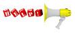 Слово HELP! составленное красными кубиками вылетает из мегафона