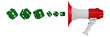Кубики с восклицательными знаками вылетают из мегафона