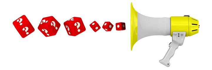 Кубики с вопросительными знаками вылетают из мегафона. Вопросы