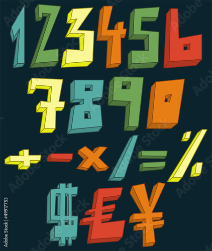 Colorful 3d numbers