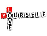 3D Love Yourself Crossword on white background