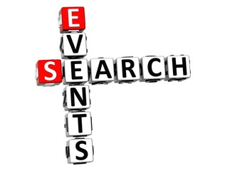 3D Events Search Crossword on white background