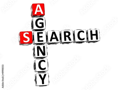 3D Agency Search Crossword on white background