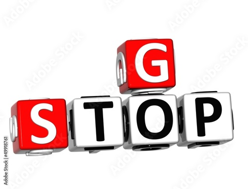 3D Go Stop Crossword on white background