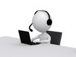 Customer Support. 3D little human character with a Headsets and