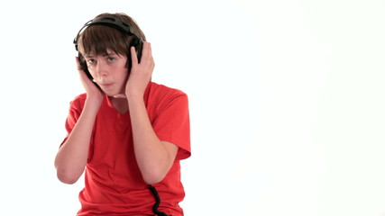 Teen boy enjoying music