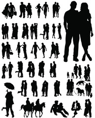 Couple silhouettes-vector