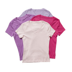 Four t-shirts isolated