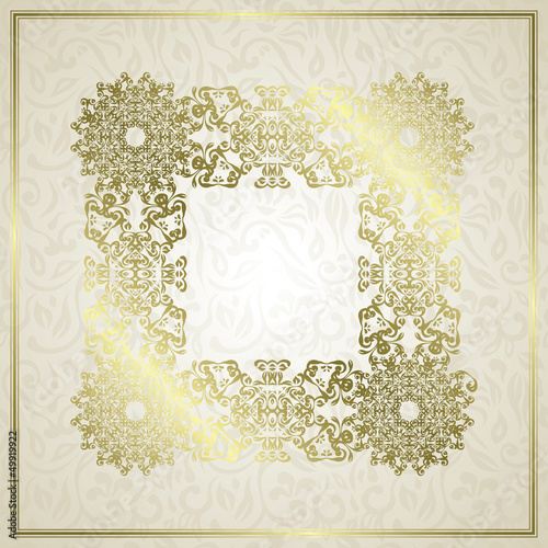 Floral seamless background with a frame in retro style