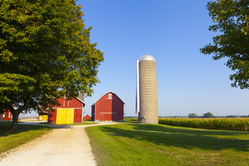 Traditional American Red Farm in Summer