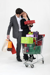 young couple at shopping for Christmas
