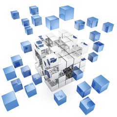 3d cubes on white