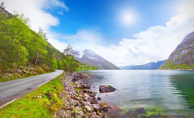 beautiful Norway fjord Eidfjord
