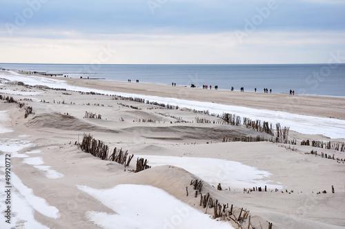 canvas print picture Strandwanderung im Winter auf Sylt