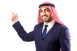 Arab man pressing virtual buttons