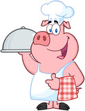 Happy Pig Chef Holding A Platter