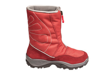 children's red waterproof boot on a white background