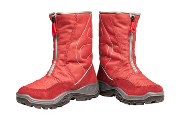 children's red waterproof boots on a white background