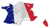 France map cracked, conceptual representation of national crisis