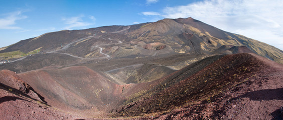 panorama of etna craters