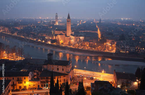 Verona - Outlook from Castel san Pietro in winter evening