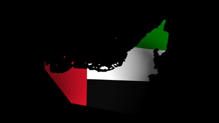 Fluttering UAE map flag animation