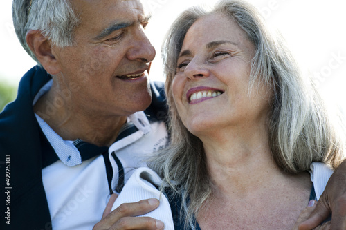 Mature couple enjoying the outdoors together