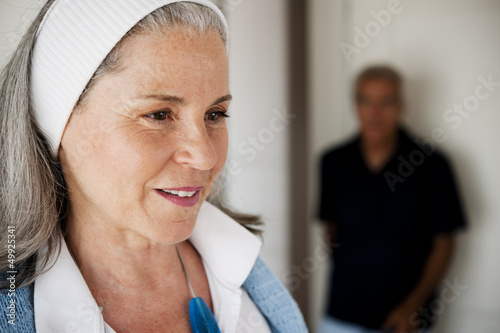 Mature couple entering room