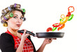 Pin up housewife cooking fresh vegetables