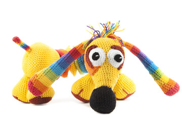 knitted iridescent dog