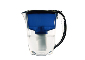 Clear water filter pitcher. Isolated on white background