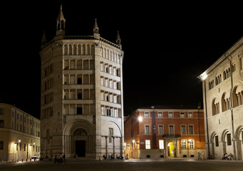 View of Baptistery on Piazza del Duomo, Parma, Italy