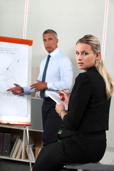 Business people looking at a flipchart