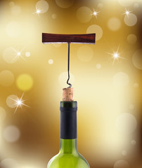 wine bottles on gold abstract background
