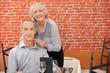 Senior couple in restaurant