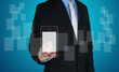 Businessman in black suit working with vurtual screen