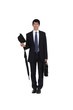 businessman holding an umbrella, a briefcase and a hat
