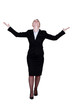 Businesswoman with raised arms