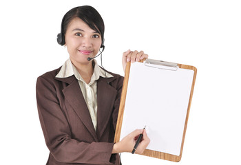Young businesswoman with headphone carrying blank paper