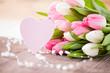 Blumenstrauß und Herz