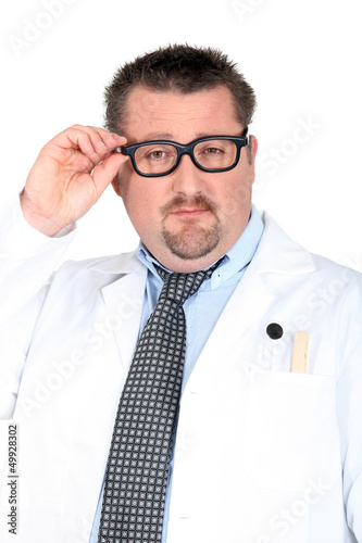 doctor putting on his glasses