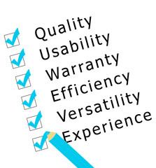 Encuesta sobre calidad, experiencia, eficiencia, garantía,...