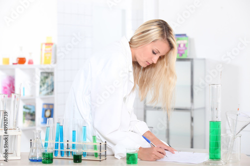 young girl in a lab