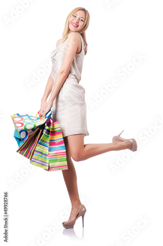 Attractive woman after good shopping
