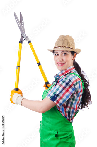 Woman gardener with shears on white