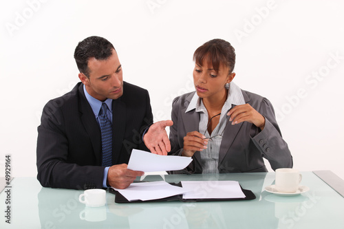 Business couple having heated discussion